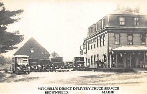 Brownfield ME Mitchell's Delivery Truck Service Bus Gulf Gas Pumps RPPC