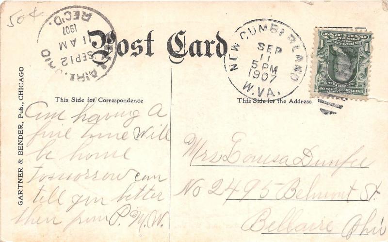 E77/ New Cumberland West Virginia Postcard 1907 Birdseye View River Homes 7