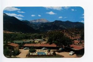 Manitou Springs CO Motel Pool Old Cars Postcard