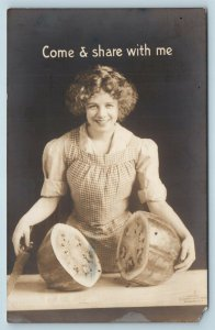 Postcard Woman With Cut Watermelon Come & Share With Me Real Photo RPPC T1