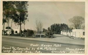 Glendale Arizona Rock Haven Motel Malbone 1940s RPPC Photo Postcard 4616