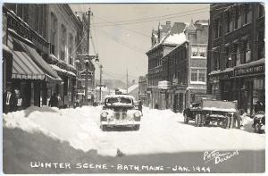 Bath ME Main Street Store Fronts Old Cars Truck in Snow Real Photo RPPC Postcard