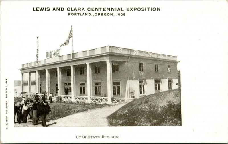 1905 Postkarte Portland Oder Udb Lewis & Sekretärin Ausstellung Utah Staat Bauen
