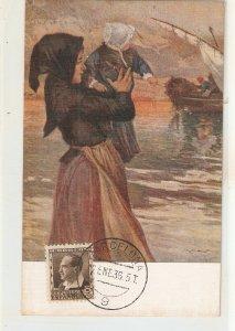 R.Brugada. Lady with baby. Los Huerfanos del pescador Fine painting, nice Span