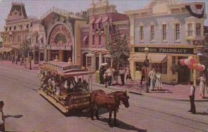 Disneyland Horse Drawn Trolley At Upjohn Pharmacy On Main Street