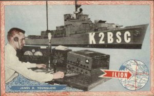 Ham Radio & Naval Ship Ilion NY Postcard