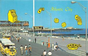 Atlantic City New Jersey~Boardwalk-Beach-Ocean~Gambling~1970s Postcard