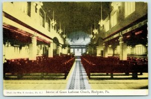 Rochester Pennsylvania~Down the Aisle of Grace Lutheran Church~Side Seats c1910