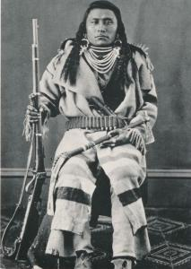 Little Wolf Crow Indian with Tomahawk & Carbine ca 1885 Western USA Recent Print