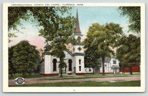 Florence Massachusetts~Congregational Church & Chapel~1938 Postcard