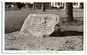 Vintage Boulder on Battle Green, Stand Your Ground, Lexington, MA Postcard