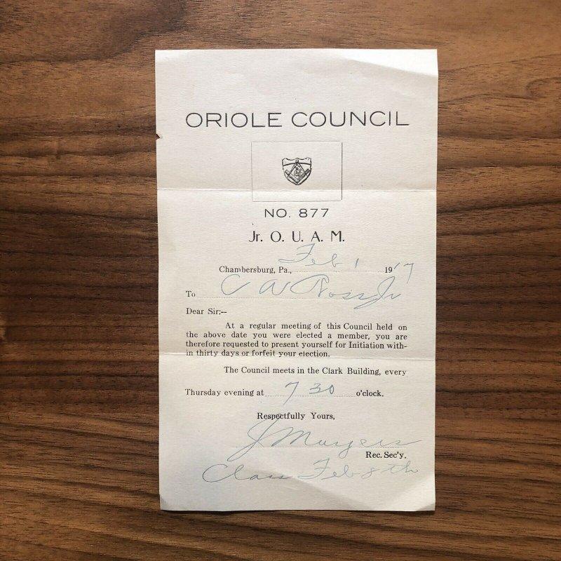 Chambersburg PA  Franklin County 1917 - ORIOLE COUNCIL # 877 -  Paper Ephemera