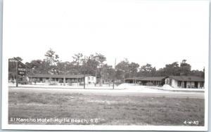 Myrtle Beach, South Carolina RPPC Real Photo Postcard EL RANCHO MOTEL c1950s