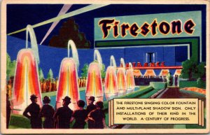 Firestone Singing Color Fountain~1933 - POSTCARD Chicago Worlds Fair