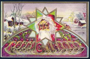 Merry Christmas Santa Claus & Snow Scene used c1910