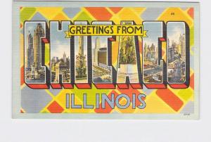 BIG LARGE LETTER VINTAGE POSTCARD GREETINGS FROM ILLINOIS CHICAGO #1