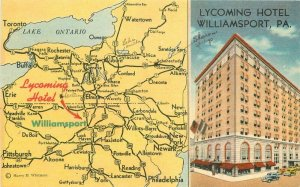 Lycoming Hotel Williamsport Pennsylvania map Postcard Whitman linen 20-11570
