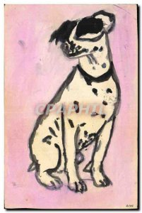 Postcard Old Dog Puppy Dogs (drawing hand)