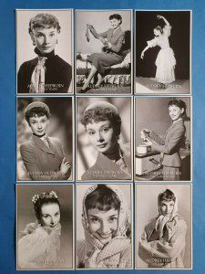 Set of 9 Black & White Audrey Hepburn The Early Years Postcards 89Z