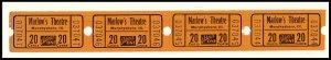 Four .20 Cents Marlow's Movie Theatre Tickets, Murphysboro, Illinois/IL,...