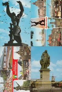 Rotterdam Statues Holland incl Military Monument 4x Postcard s