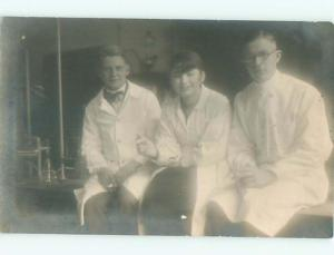rppc 1920's Suffrage science WOMAN IN LAB COAT BESIDE CHEMISTRY BEAKERS AC8861
