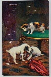 Sydney Hayes MISCHIEF Kitty Cat & Puppy Dogs c1910 Art Postcard L10