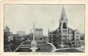 Scranton Pennsylvania~Lackawanna County Court House~Soldiers Monument~1920s PC