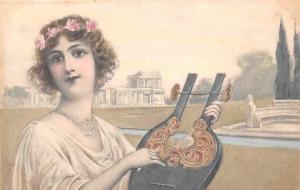 Vintage Fashion Lady Woman, Musical Instrument, M.M. Vienne, Postcard