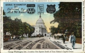Washington DC US George Washington Inn Advertising c1920s Postcard
