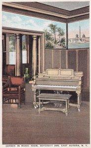 EAST AURORA, New York, 1900-10s; Piano, Corner in Music Room, Roycroft Inn