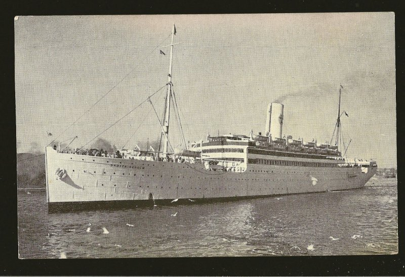 SS Drottningholm Swedish America Line Real Photo Postcard Unposted