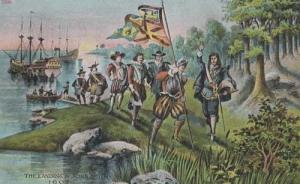 The Landing Of John Smiths Military Medieval Battle Antique Postcard