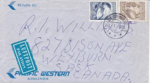 Cover & Letter , Pacific Western Airlines , PU-1970 GRONLAND