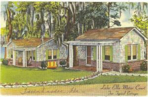 Lake Ella Motor Court Tallahassee FL linen postcard