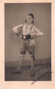 French Actress In Shiny Fancy Dress Hand Signed Old Postcard
