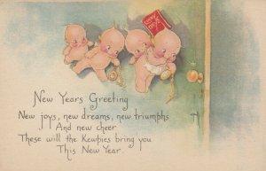 Kewpies ; NEW YEAR , Door knob , 1900-10s , AS Rose O'Neill