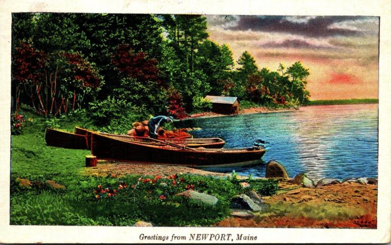 Maine Greetings From Newport 1937