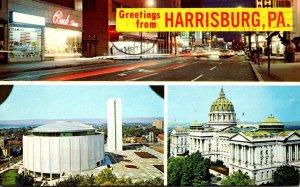 Pennsylvania Harrisburg Greetings Showing Night Street View State Capitol & M...