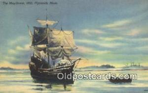 The Mayflower 1620, Plymouth, Massachusetts, MA USA Sail Boat Postcard Post C...