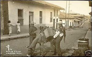 mexico, URUAPAN, Native People, Donkey (1940s) RPPC
