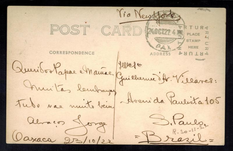 1922 Mexico Real Picture RPPC Postcard Cover to Brazil Monument to Juarez Oaxaca