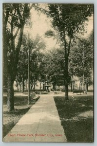 Webster City IA~Straight Walk to the Spray of the Fountain~Courthouse Park~c1910