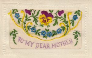 Embroidered To my dear Mother , 1914-18 ; Pansy flowers