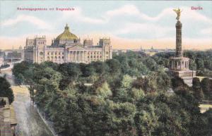 BERLIN, Germany, 1900-1910´s; Reichstagsgebaude Mit Siegessaule