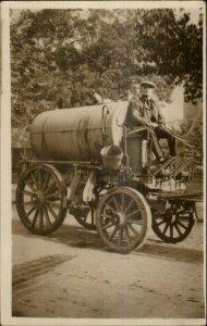 Horse Drawn Water Wagon Nice Crisp Image c1910 Real Photo Postcard