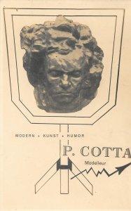 Unusual V. Rare 1920s Vintage Postcard, Self-Published Art card, P. Cotta
