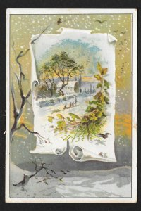 VICTORIAN TRADE CARD Lion Coffee Winter Rural View
