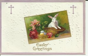 Easter Greetings Bunny in a Basket  Embossed