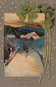CHRISTMAS ; Sled on winter road , Shamrock , 1908 ; PFB 7858